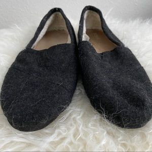 Toms Black Flannel Flat